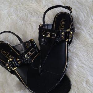 Ralph Lauren Black Thong Sandal